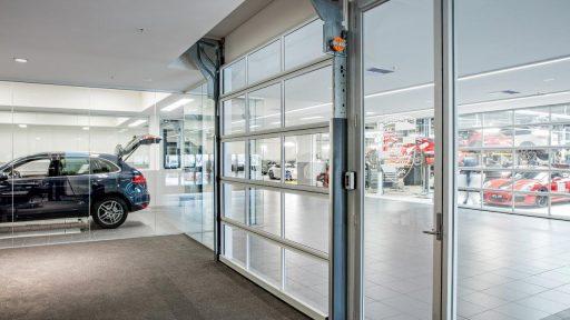 full glass doors at this car dealership