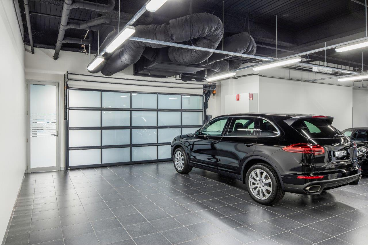Compact door as a partition wall in a car dealership