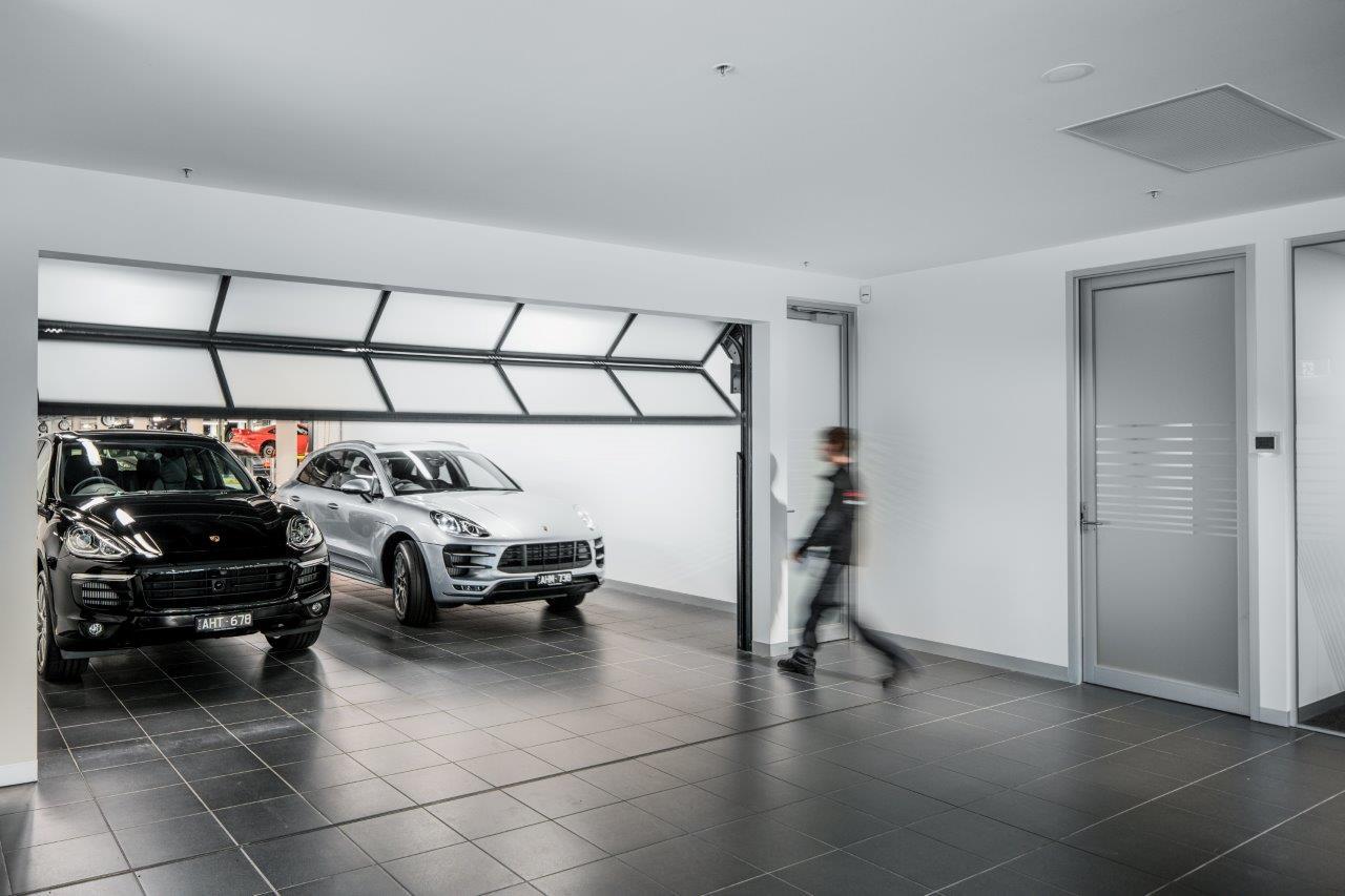 Compact door in a showroom