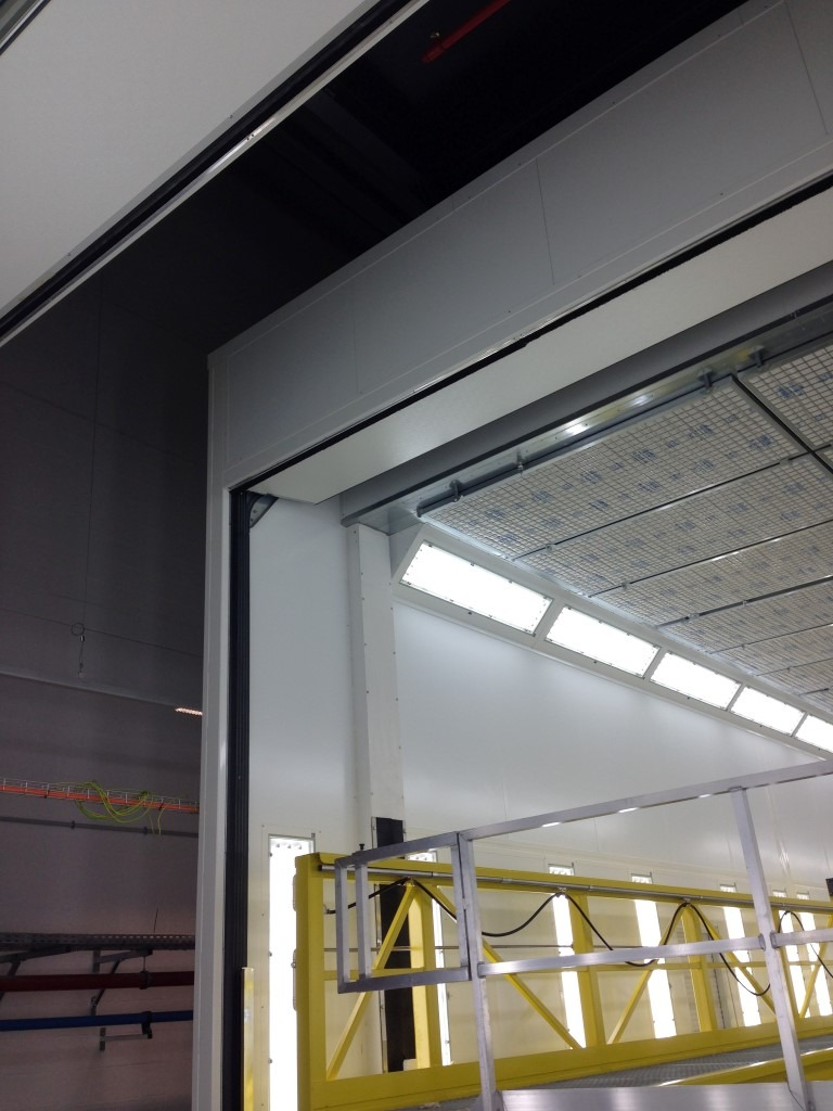 Spray booth door detail