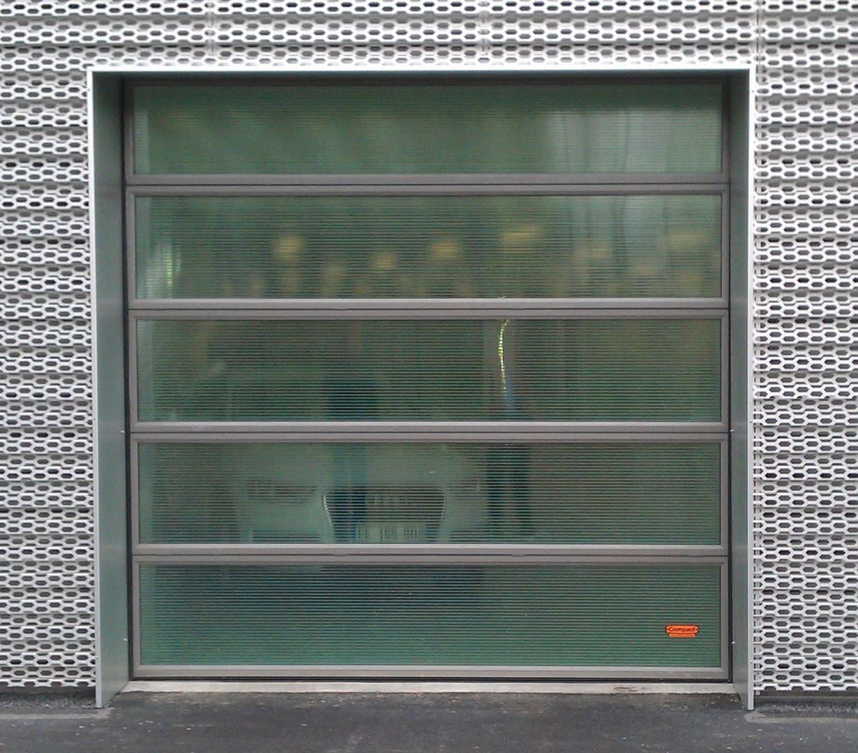Showroom door with translucent panels