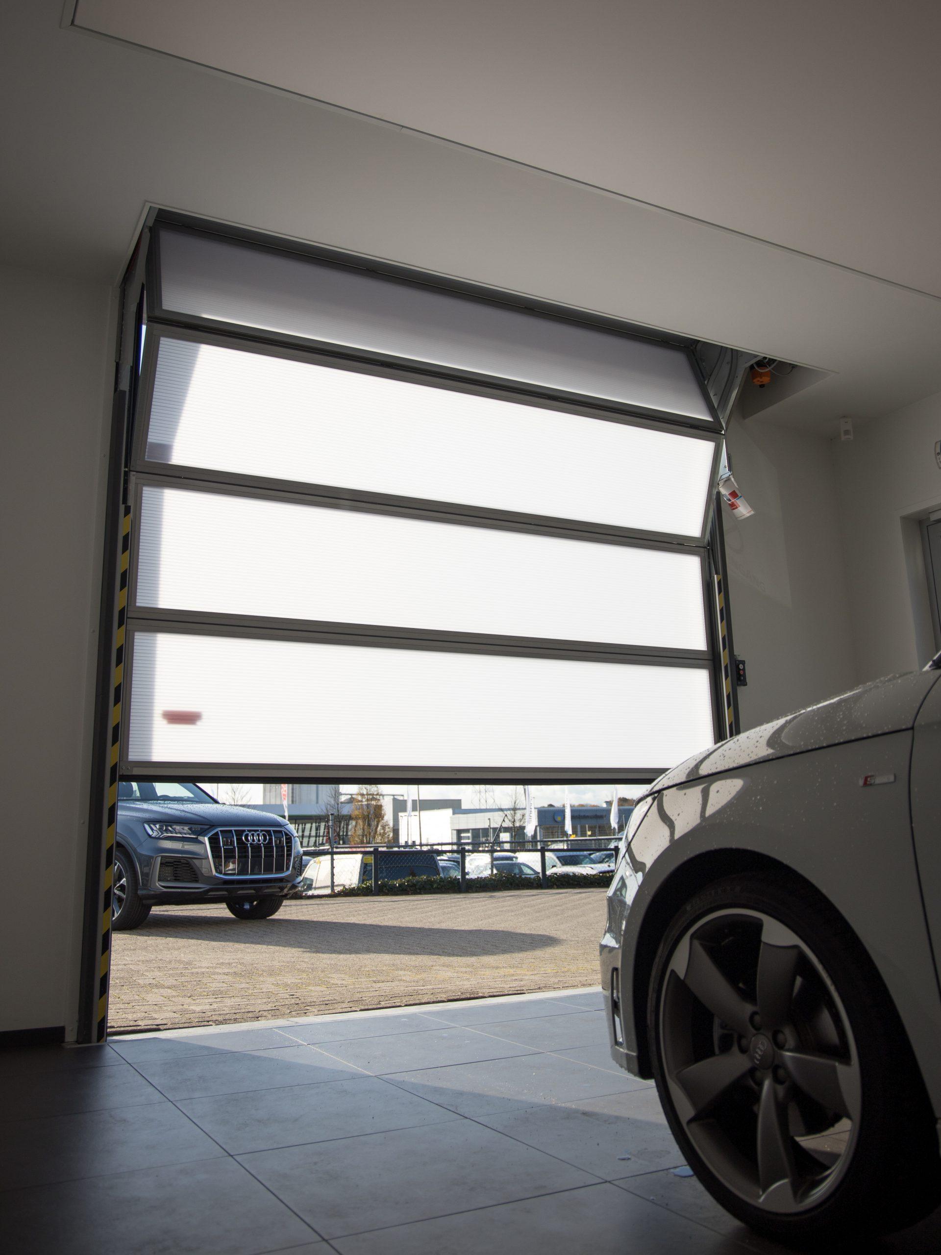 Rollershutters neatly tucked away - great alternative to a bifold garage door or roller door