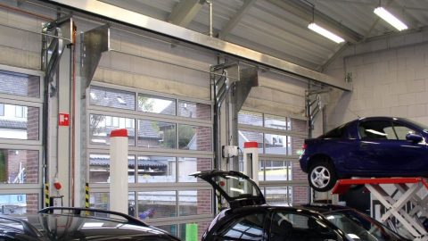 Compact doors at a car workshop
