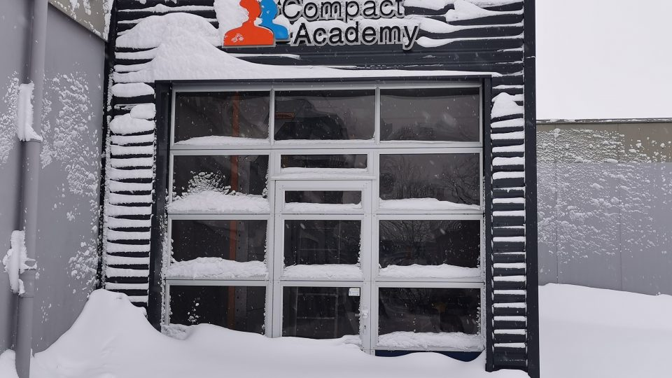Isolated Compact door in the snow