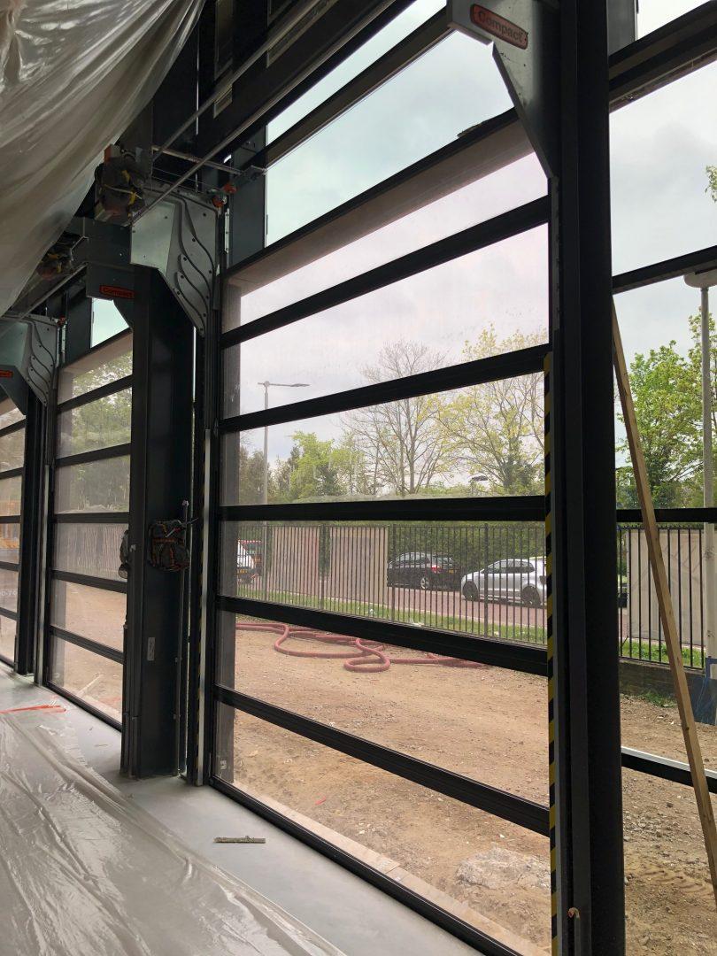 Compact overhead doors in school