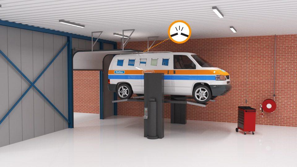Beperkte werkhoogte bij een hefplatform wanneer een overheaddeur is geïnstalleerd